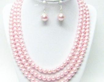3 Strand Pink Glass Pearl Necklace/Bracelet & Earrings Set
