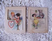 Antique Valentines Day Cards (set of 2) 1920s. Ephemera Valentine.  Made in USA Valentine Cards.
