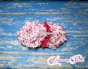 Pink, White, Fuchsia Pink Heart Flower Hair Clip, Shabby Heart Flower Bow, Valentine's Day Headband, Heart Headband, Shabby Chiffon Headband