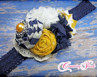 Mustard, Navy Headband, M2M Persnickety, Flower Hair Accessory, Yellow, Blue, White Hair Bow, Hair Piece, Fabric Flower Hair Clip, hairbow