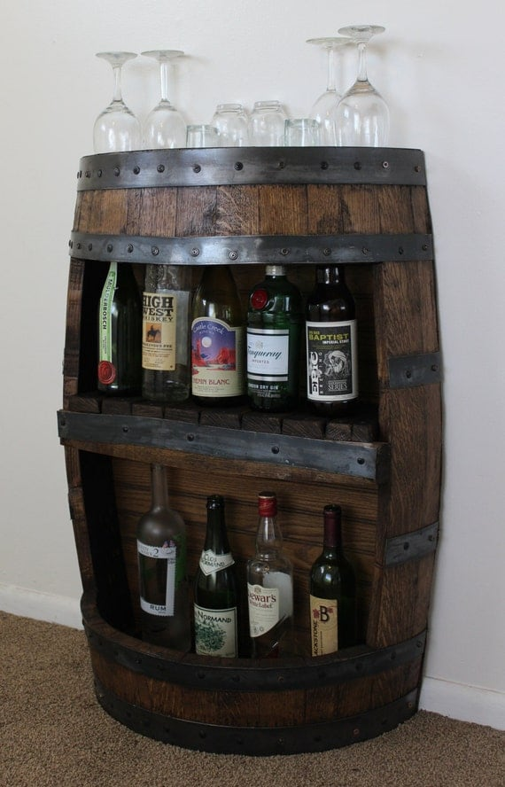 Whiskey Barrel Bar with Shelf Reclaimed Whiskey Barrel Bar