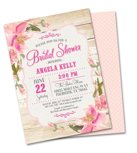 Rustic Bridal Shower Invitation Country Wood Lace Pink Blush Peach