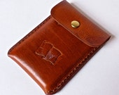 Tan leather business card case, leather credit card case with stamped American flag