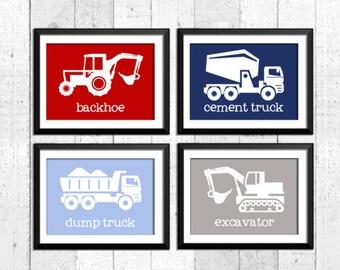 Trucks prints, construction nursery art,  construction art prints, trucks decor, baby boy nursery, navy blue red grey,  transportation art