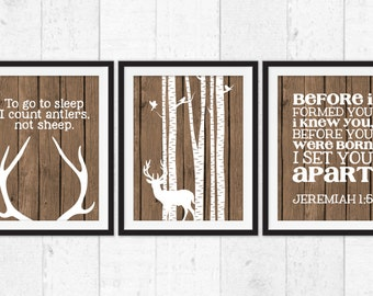 Deer art prints, before i formed you i knew you, deer with birch trees, to go to sleep i count antlers, rustic nursery decor, country art