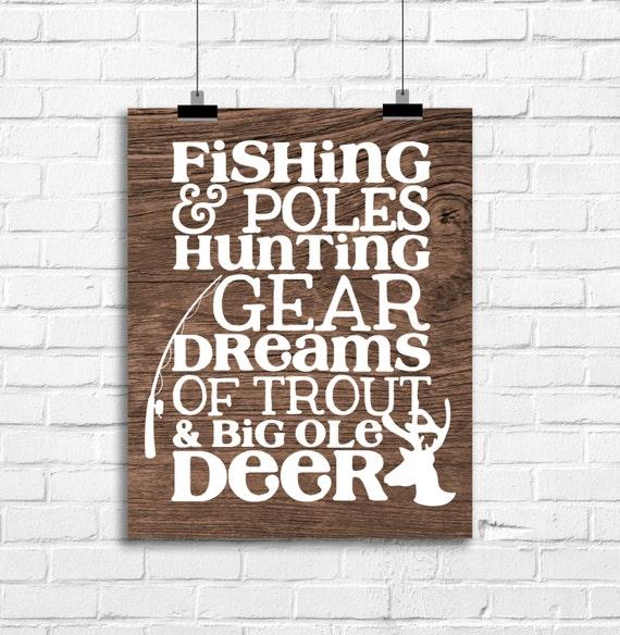 Fishing Poles And Hunting Gear Art Print Hunting Fishing
