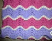 Baby Blanket - Lavender, Pink and Cream - Throw - Car Blanket - Childs Blanket