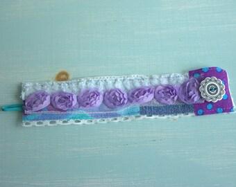 SALE  Purple Chevron Media Fabric Cuff Bracelet