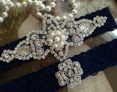 SALE-Wedding Garter-Navy-Blue-Lace-Garter-Ivory-White-Pink-Bridal White-Rhinestone Garter-Applique Garter-Vintage-Bridal Garter-Garter