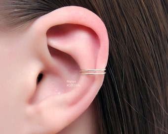 No Piercing Silver Cartilage Ear Cuff Double Ring/piercing imitation/fake false piercing/faux piercing/plain simple earring/conch manchette