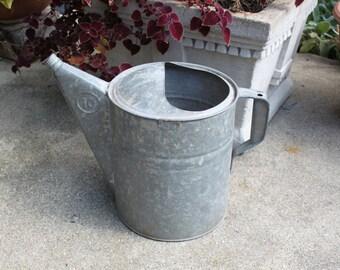 Rustic Vintage Galvanized Water Can, Farm Decor, Garden Can, Flower Pot