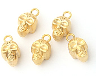 Gold Plated Skull Charms, 5 pieces // GPCh-149