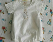 Ships Worldwide / Hand Embroidered Peter Rabbit (Beatrix Potter) White Cotton Bubble Suit / Romper - Ready to ship