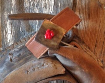 Vintage Leather, Brass and Coral Bracelet