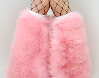Made to order BABY PINK faux fur boot covers leggings fuzzy legwarmers furry boots festival fashion white rave fluffies