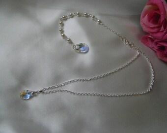 Ona - Swarovski Crystal & Pearl Bridal Backdrop Necklace