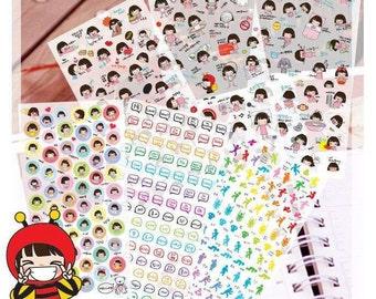 6 sheets Korea Short hair girl deco sticker set - Transparent/Clear Stickers