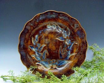 Organic Design Plate Tobacco Brown Sapphire Blue Botanical Table Home Decor
