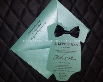 Little Man Baby Shower Invitation, Bow Tie Baby Shower Invite, It's a Boy Baby Shower, Baby Shower Invite, Onesie Invite
