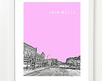Lake Mills Wisconsin Poster - Downtown Lake Mills - Small Town Gift