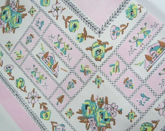 Vintage Printed Tablecloth - Pink Aqua Tablecloth - Free Shipping - Mid Century Kitchen - Cottage Chic - Shabby Decor - Glamper Glamping