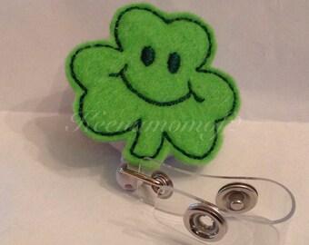 Shamrock Badge Holder-Shamrock ID Holder-Shamrock Retractable Badge-Shamrock Lanyard-Irish Lanyard-Irish Badge