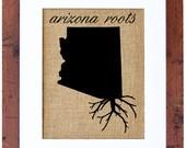 Arizona Roots, Burlap Art, Wall Art, Burlap, Frame Included, Burlap Wall Decor