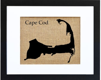 Cape Cod Wall Decor, Burlap Wall Art, Nautical Burlap Decor, Decorating with burlap
