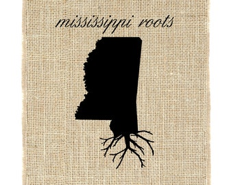 Mississippi Roots Unframed Wall Art, Burlap Art, Custom Wall Art, Know your roots, Custom State Outline