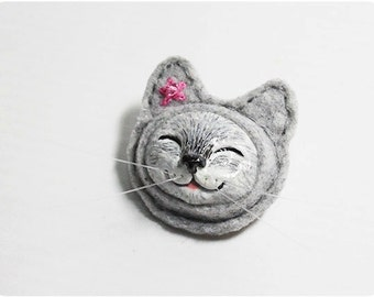Happy Cat - Gray Cat Brooch, Clay Cat Brooch, Felt Cat Brooch
