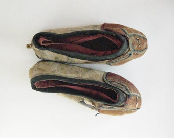 Antique Chinese Embroided Children's Shoes, Handmade, Fragile