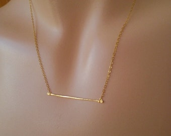 Skinny Gold bar necklace - Delicate necklace Thin bar necklace - delicate bar necklace  bib necklace