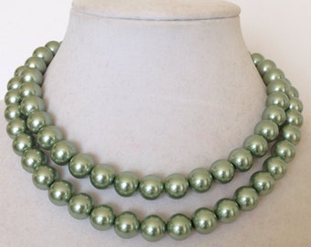 Green Pearl Necklace, Light Green Necklace, Faux Pearl Necklace, Chunky Pearl Necklace, Multistrand Pearl Necklace, Sage Green Necklace