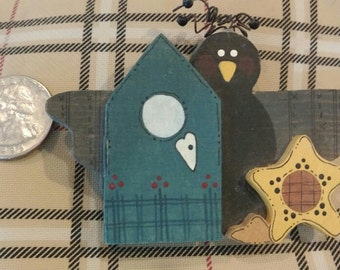 Crow Pin or Magnet with Sunflowers and Birdhouse