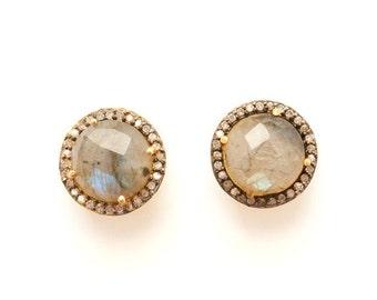 Labradorite & Diamond Stud Earrings