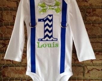 Boy's First Birthday Suspenders & Bow Tie Shirt or Bodysuit