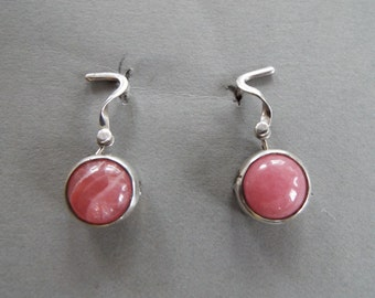 sterling silver Rhodochrosite dangle hinged  earrings