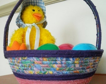 Fabric Coiled Easter Basket for Easter Eggs and Candy, Vintage Buttons