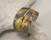 Leaf ring sterling silver with 24k gold accents - made to order