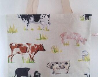 CLEARANCE SALE Handmade Cream Cotton Canvas Farm Animals Shopping Book Tote Bag