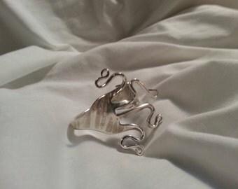 Cuff Fork Bracelet, silver bracelet, Vintage, Silverware Jewelry