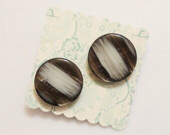 Brown Gray Stud Earrings, Button Earrings, Gifts Under 15
