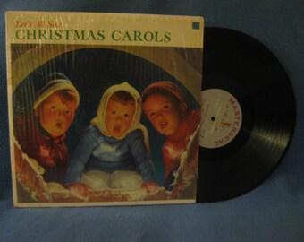 "Vintage, ""Let's All Sing Christmas Carols"", Holiday Vinyl LP, Record Album, The malvin carolers, Sy Mann, Silent Night, Deck The Hall, Noel"