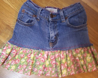 Lil' Hags....girls upcycled denim toddler skirt...Levi....size 2....free shpping in US...