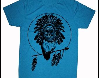 Men's Hawaii Retro Owl Tee Hawaiian Pueo Head Dress Feathers T-Shirt