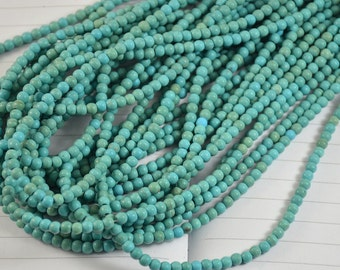 Turquoise blue Round Howlite Turquoise Beads, Loose Round Turquoise Beads 15inch in strand diameter 4mm