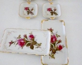 Rose Ashtrays and Trays, Red Rose Ashtrays, Porcelain Ashtrays