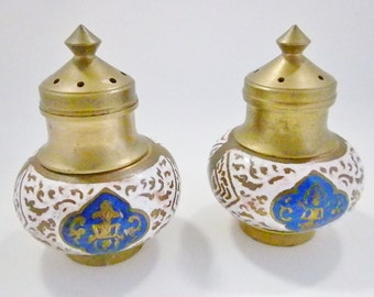 Vintage Brass Salt and Pepper Shakers, Small Brass and Blue Shakers