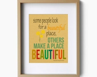 Typographic Print - Inspirational Art Print - Beautiful Place - Quote Poster Inspiration Art Print - Some People Look