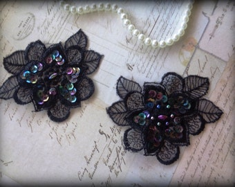 Daisy Lace Applique, Black, x 2, For Bridal, Romantic, Victorian, Gothic Projects